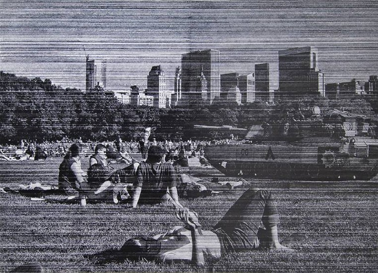 Allora  & Calzadilla, Intermission I (Times of Leisure During times of War ) 2007, Ink on linen