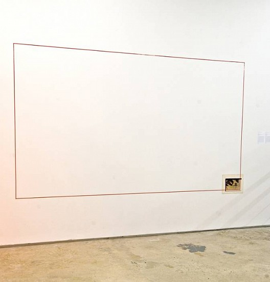 John Baldessari, Extended Corner: Uccello 1974, One chromogenic print and red masking tape applied to wall