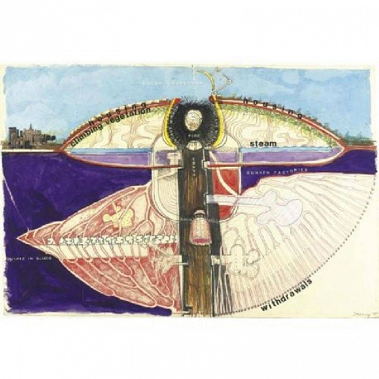 Juan Downey, Project for Roosevelt Island Competition: Section of Proposal Drawing and collage on paper