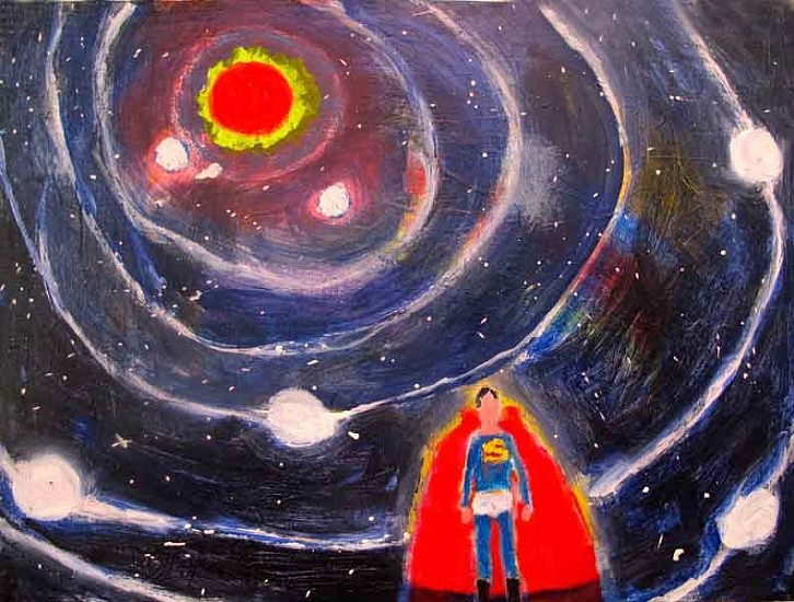 Katherine Bradford, Superman Solar System 2015, Acrylic on canvas